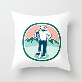 Gold Miner With Shovel Circle Retro Throw Pillow