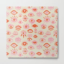 Mystic Eyes – Pink & Red Metal Print