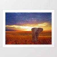 baby elephant Art Prints featuring  Elephant baby by valzart