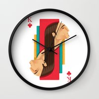 house of cards Wall Clocks featuring Cards by marcos bernardes