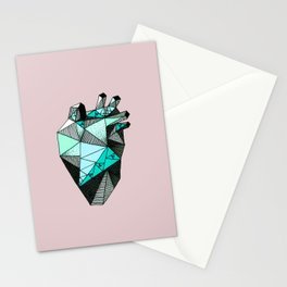 Single Minty Heart Stationery Cards
