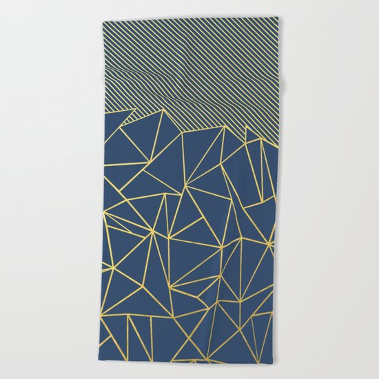 Ab Lines 45 Navy and Gold Beach Towel