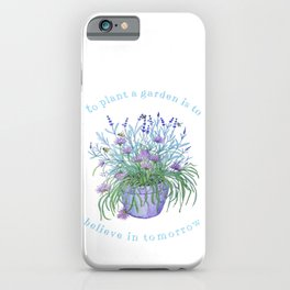Lavender, honey bees and chives watercolor iPhone Case