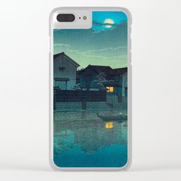 Kawase Hasui Vintage Japanese Woodblock Print Japanese Village Under Moonlight Cloudy Sky Clear iPhone Case