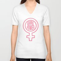 girl power V-neck T-shirts featuring Girl Power by aesthetically