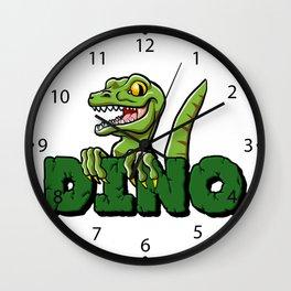 Cute dinosaur cartoon and lettering Wall Clock