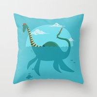 """earthbound Throw Pillows featuring Loch""""Ness"""" Monster by Michael B. Myers Jr."""