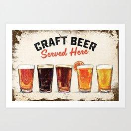 """Craft Beer Served Here"" Cool Beer Illustration Wall Art Art Print"