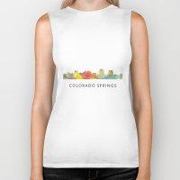 colorado Biker Tanks featuring Colorado Springs Colorado Skyline by Marlene Watson