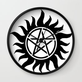 Anti Possesion Sigil Black Wall Clock
