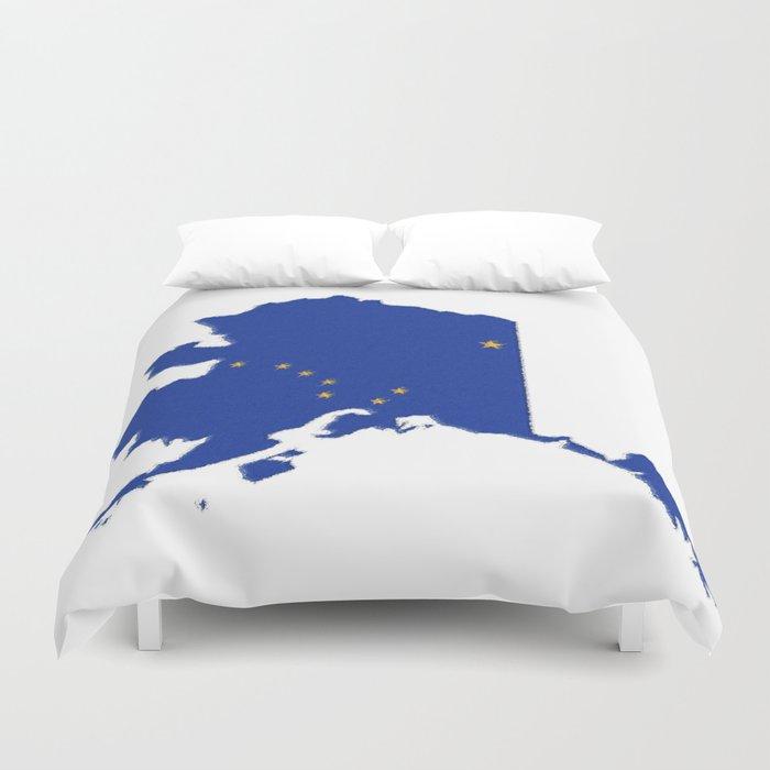 Alaska Map with Alaskan Flag Duvet Cover