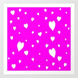 Hand-Drawn Hearts (White & Magenta Pattern) Art Print