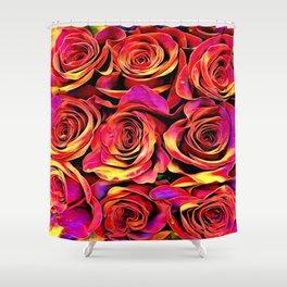 Scarlet Golden Roses Shower Curtain