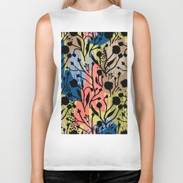 Abstract green coral pink black brushstrokes floral Biker Tank