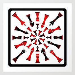 Red/Black Chessmen Art Print