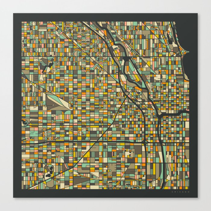 Chicago Map Canvas.Chicago Map Canvas Print By Jazzberryblue Society6