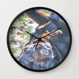 Chocolate lab LABRADOR RETRIEVER dog portrait painting by L.A.Shepard fine art Wall Clock