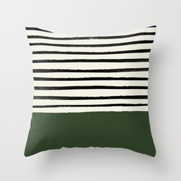 Forest Green x Stripes Throw Pillow
