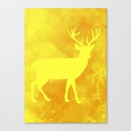 Minimal deer in yellow Canvas Print
