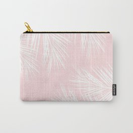 Modern white tropical palm tree on girly stylish pink Carry-All Pouch