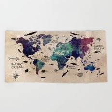 Oceans Life World Map  Beach Towel