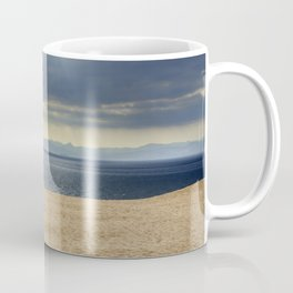 Sand dune, Meditarranean sea and African mountains. Coffee Mug