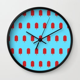 Red Popsicles - Blue Background Wall Clock