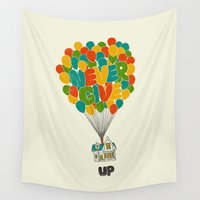 pixar Wall Tapestries featuring Never give UP by I Love Doodle