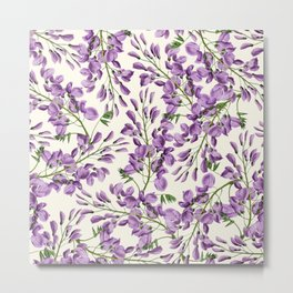 Boho forest green lavender lilac wisteria floral pattern Metal Print