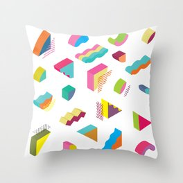 blocks isometric Color Design elements in the Memphis style Throw Pillow