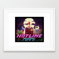 hotline miami Framed Art Prints featuring Hotline Hexels - Hotline Miami by Marco Mottura - Mdk7