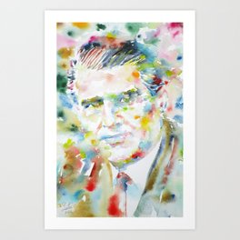 WERNHER VON BRAUN watercolor portrait Art Print