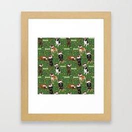 santa hat coonhounds lights green Framed Art Print