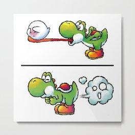 Farting Yoshi Green Metal Print