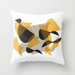 Abstract Black and Yellow Throw Pillow
