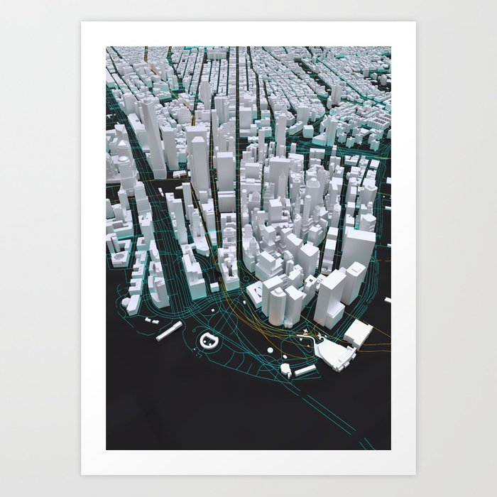 3D New York Map Art Print