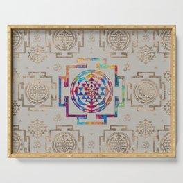 Sri Yantra  / Sri Chakra in color on canvas Serving Tray