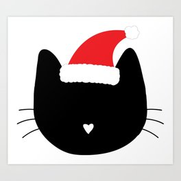 Christmas Cat Heart Nose With Santa Hat Art Print