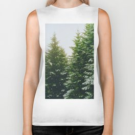 Winter Pine Tree Forest (Color) Biker Tank