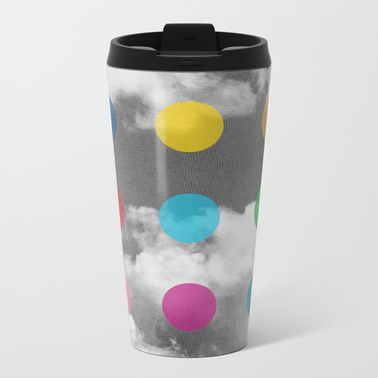 Storm Clouds + Colored Dots Metal Travel Mug