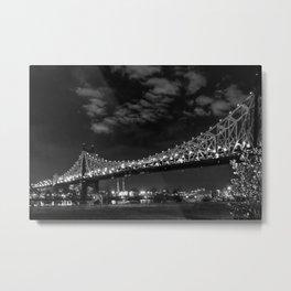 Queensborough Bridge at night. Black and white photography Metal Print