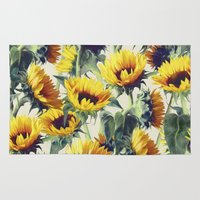 yellow Area & Throw Rugs featuring Sunflowers Forever by micklyn