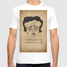 Poe Cat MEDIUM White Mens Fitted Tee