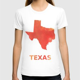 Texas map outline Tomato stained watercolor texture T-shirt