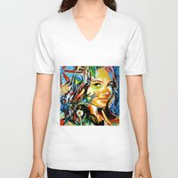 cassandra jean V-neck T-shirts featuring Cassandra by Phil Fung