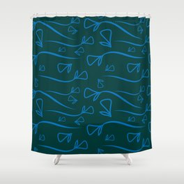 Geometric pattern from vegetable cobalt elements on a lead background. Shower Curtain