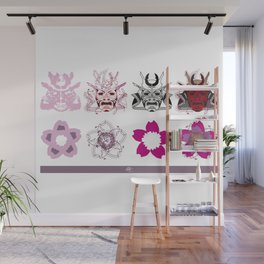 4 samurais & 4 flowers. Wall Mural