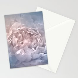 Blushing Blue and Cream Peony - Floral Stationery Cards