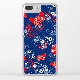 Video Game Red White & Blue 2 Clear iPhone Case