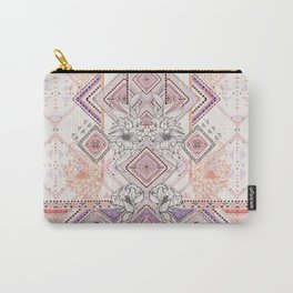 Aztec Lines Floral Carry-All Pouch